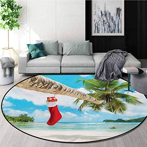 Learn More About RUGSMAT Christmas Computer Chair Floor Mat,Sock On The Palm Tree On Tropical Sandy ...