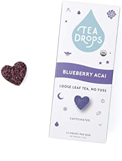 Sweetened Organic Loose Leaf Tea | Instant Blueberry, Acai, White Tea | 10 Handcrafted Best Selling Herbal Tea Drops | Great Gift For Tea Lovers | Delicious Hot or Iced | By Tea Drops