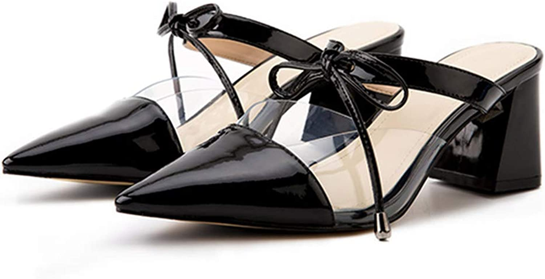 Eora-2sl Classics Elegant Women's shoes Pointed Toe Chunky Heels Women's Summer Slippers