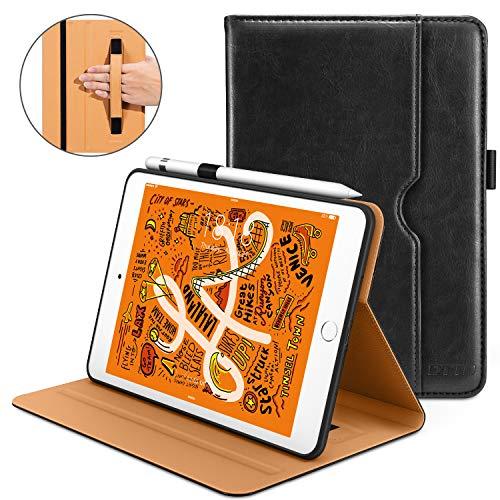 DTTO iPad Mini 5th Generation 2019 Case, [Noble Series] Leather Folio Cover Case with Apple Pencil Holder for iPad Mini 5 2019 [Auto Sleep/Wake], Black