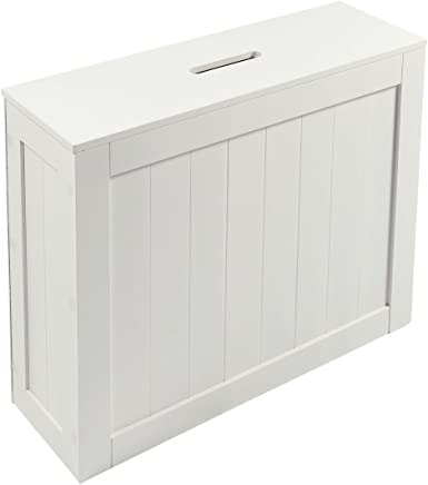 Woodluv White Shaker Slimline MDF Multi-Purpose Bathroom Storage Unit, 49.5cm x 16cm x 40cm