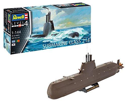 Revell 05153 Modellbausatz, U-Boot 1:144-Submarine Class 214, Level 4, orginalgetreue Nachbildung mit vielen Details-05153