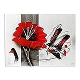Cuadro Pintado a Mano Flor Rojo Cuadro para Pared Decoración Salon Dormitorio Cuadro Acrilico 30X40 cm - Estilo E