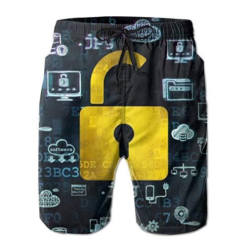 Love girl Shorts de Playa de Secado rápido para Hombres Política de privacidad Forro de Malla Bañador de Surf Trunks con Bolsillos, Talla M