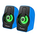 Night Light Computer Speakers,Reccazr 2070 USB-Powered PC Multimedia External Speakers with 7 colors Breathing Lighting  Blue