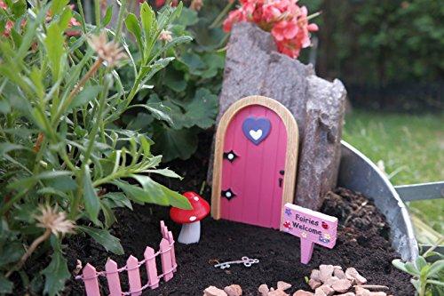 Unbekannt Miniatur Set Feengarten Fee Feentür Elfe Figur Garten