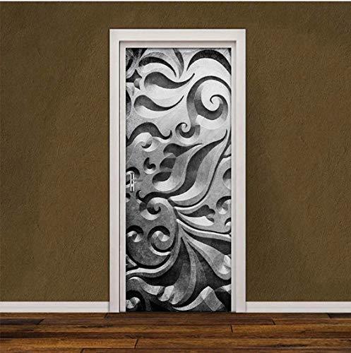 JUZHIJIA PVC Self-adhesive Door Sticker 3D Creative Grey Abstract Art Mural Photo Wallpaper Living Room Bedroom Door Decoration Stickers