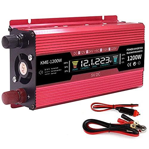 FHISD Inversor de Corriente 600W 1200W 2000W Convertidor de Corriente DC 12/24 V a CA 110V 220V 230V 240V Inversor con Interruptor controlable y Puerto USB, Incluye c