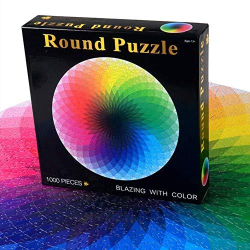1000pcs Redondo Puzles, Gradiente Colorido Arcoiris Geométrica Rompecabezas, Educativo Interactivo Juguete Regalo para Adultos Y Niños - Multicolor
