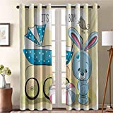 ScottDecor Gender Reveal Room Darkening Window Curtain Room Darkening Cute Bunny Baby Carriage and Ball Its Boy Message Kids Design Avocado Green and Blue 42' W X 72' L