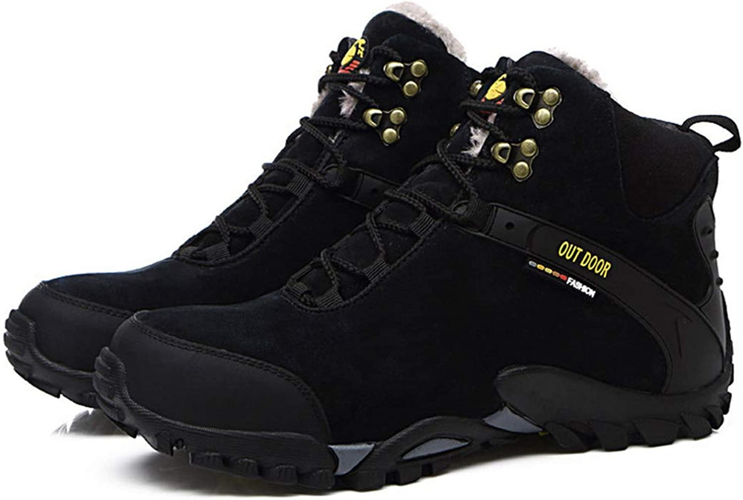 R-Ronthen Waterproof Suede Hiking High to Help Warm Winter Hiking Camping shoes Snow-Proof Wear-Resistant Sneakers