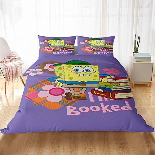 CQLXZ Spongebob-Juego de cama infantil con impresión 3D, diseño de Bob Esponja, funda de edredón, diseño de dibujos animados para niños y niñas (220 x 240 cm)