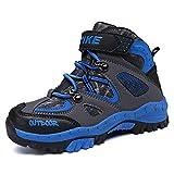 Botas de Senderismo niños Zapatos de Senderismo de Invierno Forro de Nieve Piel Caliente Botas de montaña al Aire Libre Negro Azul 29 EU