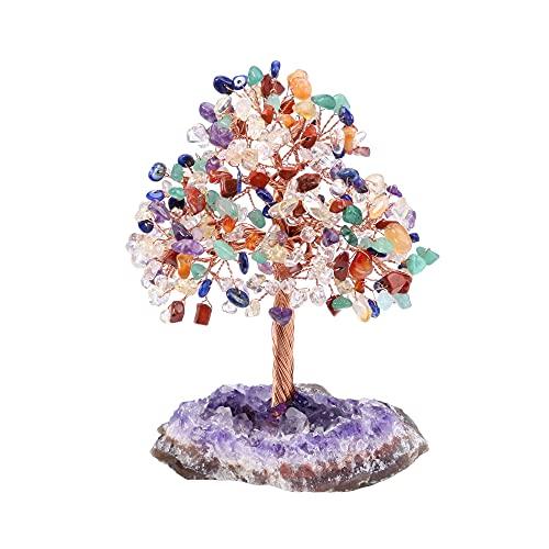 JSDDE Feng Shui, albero della vita con ametista, pietra curativa portafortuna, albero della vita, decorazione per casa, ufficio, stanza (Chakra)