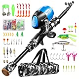 Gamashino Kids Fishing Pole - Telescopic Fishing Rod and Reel Combo Kit - Fishing Gear, Fishing Lures, Carry On Bag, 70 Set Fully Fishing Equipment - for Boys, Girls, Youth (Black, 4.92)
