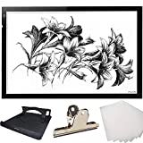 HUION 26.8 Inches (Diagonal Length) Super Thin LED Drawing Copy Tracing Stencil Board Table Tattoo Pad Translucent Light Box with Multifunction Stander, Drawing Board Clip, Tracing Paper - A2 Holder