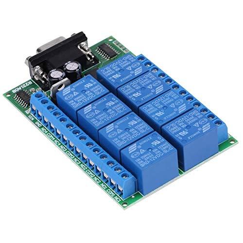 Yhtech Relé, 12V 10A de 8 canales DB9 RS 232 Interfaz DB9 hembra durable Módulo de relé remoto Interruptor de Control de Situaciones de Casa Inteligente de Control Industrial Herramientas industriales