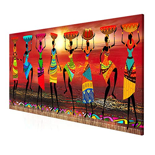DIYARTS Pinturas sobre Lienzo Arte de la Pared Mujeres Africanas Baile Imagen Abstracta Moderna Pintura Al óleo para la Decoración del Hogar Sin Marco (60 * 180cm)