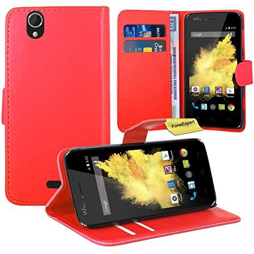 FoneExpert® Wiko Birdy Handy Tasche, Wallet Hülle Flip Cover Hüllen Etui Ledertasche Lederhülle Premium Schutzhülle für Wiko Birdy (Rot)