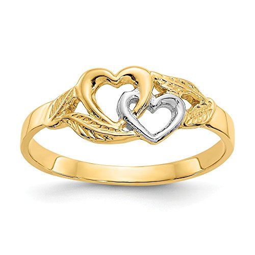 14k Yellow Gold White 2 Hearts Band Ring Size 6.00 S/love Fine Jewelry For Women Gifts For Her