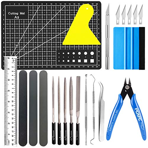 22 pec DIY Craft Tool Set Vinyl Weeding Model Tools Plotter Accessories Grid Hook Tweezers Spatula Silhouette+ A5 Craft Mat Pliers Sanding Sticks Metal File Set for Gundam Car Model Building Repairing