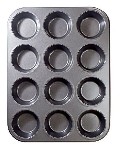 "Ecolution Bakeins 12 Cup Muffin and Cupcake Pan – PFOA, BPA, and PTFE Free Non-Stick Coating – Heavy Duty Carbon Steel – Dishwasher Safe – Gray – 13.75"" x 8.25"" x 1.125"""