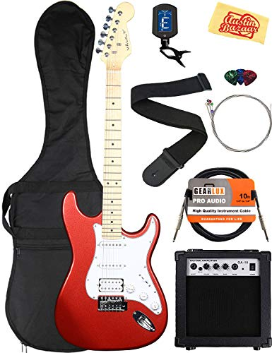 Vault Electric Guitar Bundle with Amplifier, Gig Bag, Instrument Cable, Strap, Tuner, Strings, Picks, and Austin Bazaar Polishing Cloth - Metallic Red