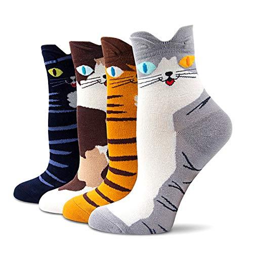 EYNOCA Lustige Socken Damen, Funny Socken Katzen Socken, Bunte Anime Socken Weihnachts Lustige Geschenke für Frauen Weihnachtssocken, FüLlung Adventskalender Lustige Socken Sockengröße 35-42