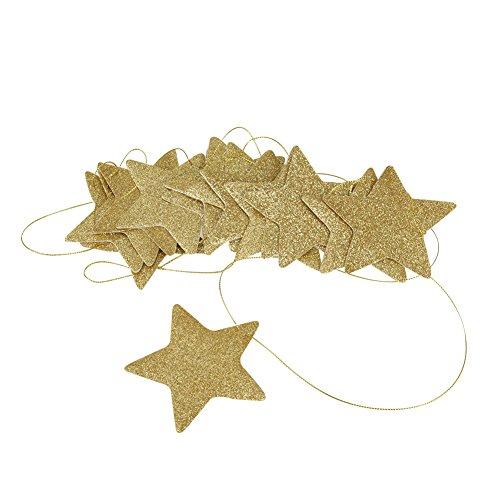 slinger met glitterster, papieren slinger om op te hangen, voor kinderkamer, babykamer, decoratie goud