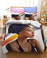 アフリカ系アメリカ人のクールな女の子の掛け布団セット、2/3ピースの寝具セット、1/2の枕カバーの1つの羽毛布団が含まれています (Color : C, Size : EU-Single 135x200cm)
