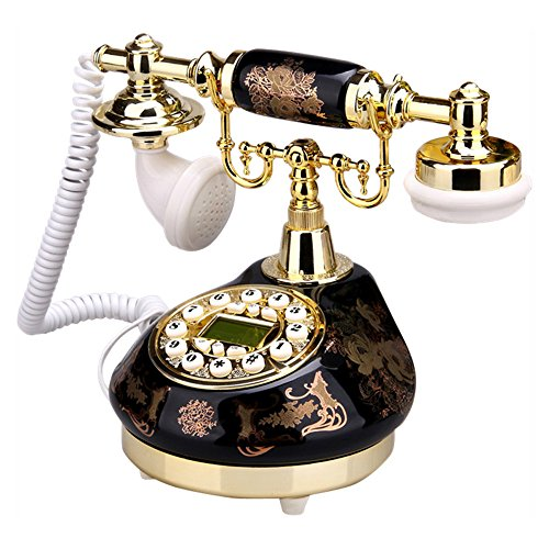 TelPal Corded Old Fashion Antique Telephone Decor 1960, Wired Home Office Telephone Decor System, Ceramic Antique Style ( Black )