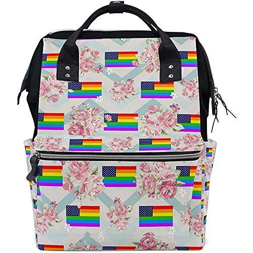 Mochila De Pañales Gay Usa Flag Mochila Para Mamá/Papá,Mochila De Viaje Multifunción Abierta De Ancho Bolsas Para Pañales