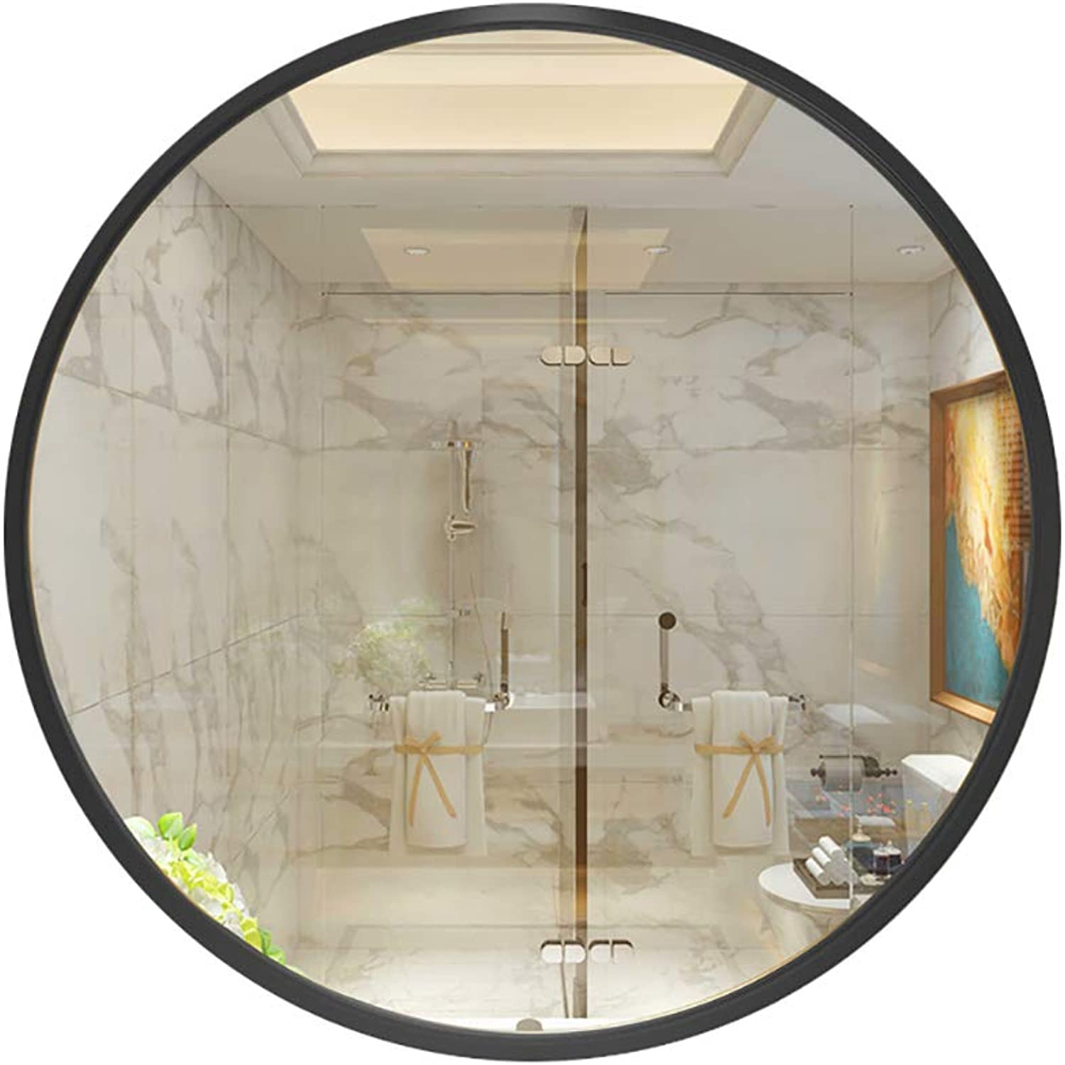 Round Mirror Bathroom Makeup Circular Wall Hanging Toilet Decoration Hanging Mirror European Washing Black40 50 60 70 80cm
