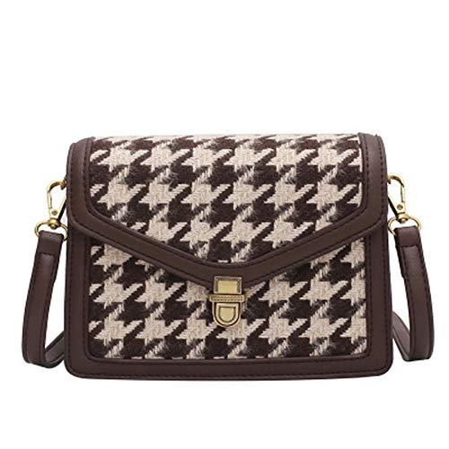 Bolso de lana-bolso de hombro para mujer-bolso cuadrado pequeño de cuero pu-bandolera desmontable bolso diagonal bolso de mano-bolsillo multicompartimental para mujer (19*14.5*8cm, Color café)