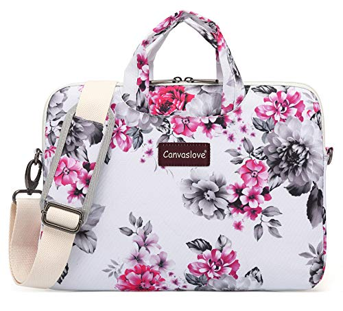 Canvaslove 15 inch Laptop Shoulder Messenger Bag Case for 14 Inch 15.6 inch Laptop Macbook Pro 15 Case (Chrysanthemum)