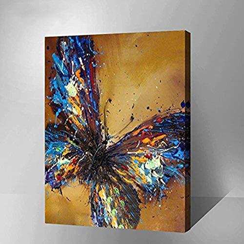 WOWDECOR Kit de pintura por números para adultos y niños, pintura al óleo – Animales de mariposa de colores 40,6 x 50,8 cm (enmarcado)