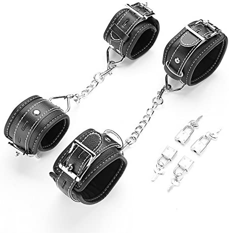 exreizst 4 Adjustable Ankle Wrist Leather Cuffs Soft Straps Set with 2 Metal Chains Black product image