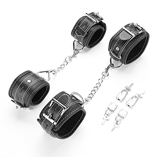Lowest Price! exreizst Soft Leather Cuffs EVA Pad Adjustable Straps Set for Hand-Wrist-Ankle, Black