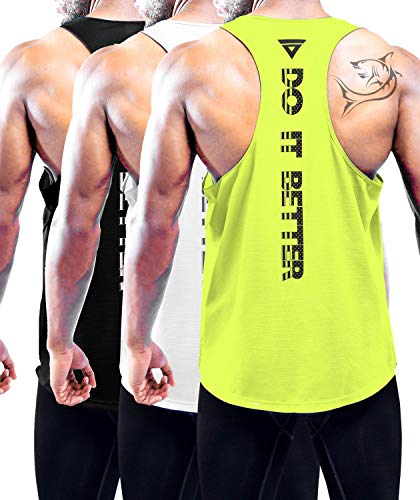 Men's 3 Pack Dry Fit Y-Back Gym Muscle Tank Mesh Sleeveless Top Fitness Training Cool Dry Athletic Workout Black,White,Green L