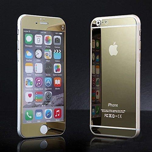 KING OF FLASH Voorzijde + Achterkant Premium Gekleurde Spiegel Effect Gehard Glas Screen Protector Precisie Edge Fit Reflecterende Electroplate Glas Voor iPhones 5/5S, iPhone 5/5S, Goud