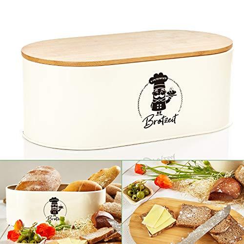 bambuswald© Brotbox aus Metall mit ökologischem Deckel aus Bambus - ca 33,5x18x13cm | Brotkasten für Croissants, Brot o. Brötchen | Brotbehälter mit Küchenbrett | Aufbewahrung Vorratdose Brotdose