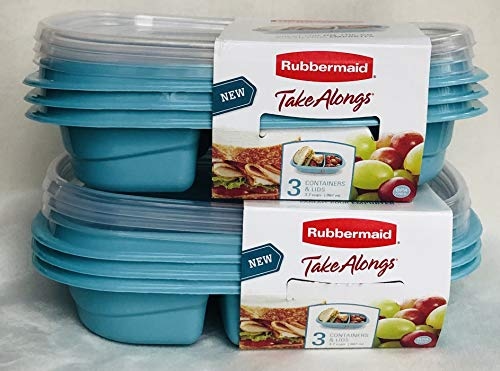 Rubbermaid TakeAlongs 12-Piece Set Divided-Base Meal Prep Food Storage Containers 6 Bases  6 Lids 37 cups TEAL