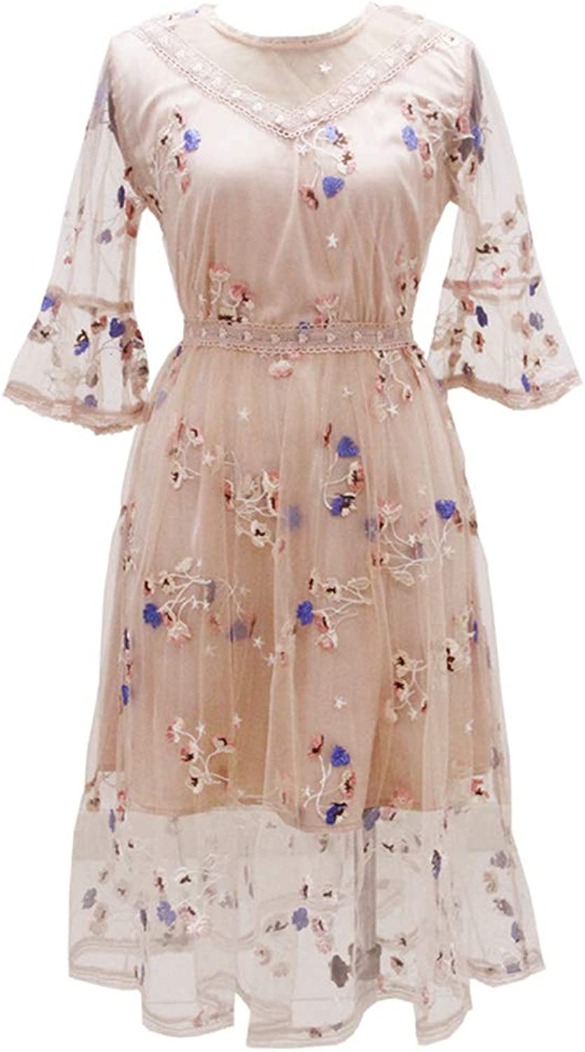 New Women's Round Neck Embroidered a Word Big Swing Skirt Temperament Lady mesh Dress Apricot