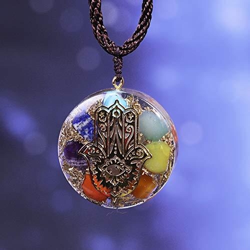 SEKDAQ EMF Protection Hand of Fatifa Orgone Collar, Piedra De Nacimiento Chakra Crystal Colgante Healing Reiki Yoga Meditación, Mujeres Hombres