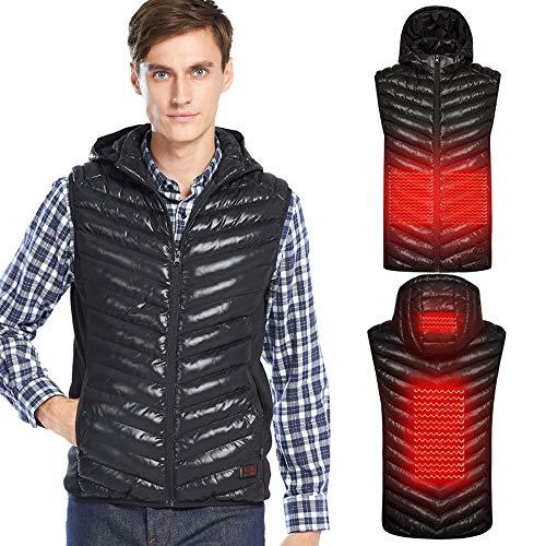 Roboraty koude winter, verwarmd vest, dons, katoen, lichte elektrische verwarming, gilet, met USB-interface, comfortabel en warm, wasbaar (perfect cadeau voor Thanksgiving) Small zwart