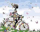 punto de cruz con tela estampada-Chica montando bicicleta-Kits de bordado para principiantes, niños y adultos con patrón impreso de 11 quilates -40x50cm