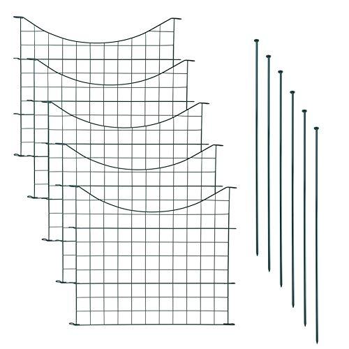 IHD Teichzaun Gartenzaun 11tlg Set Zaun Teich 5 Zaunelemente Gitterzaun Metall grün Unterbogen
