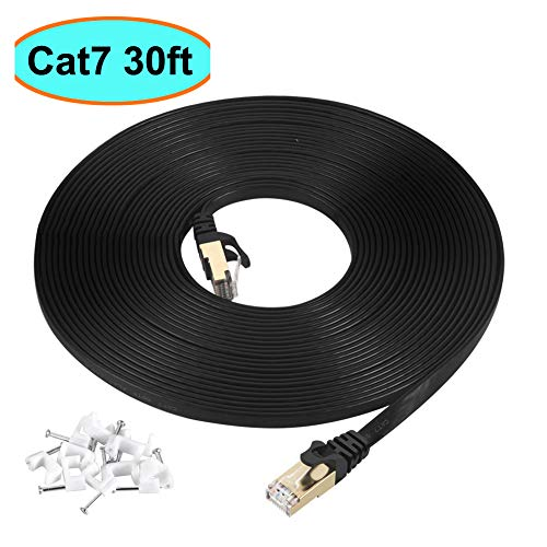 Cat7 Ethernet Cable 30 ft Black, AULLOV Cat-7/Category 7 Shielded (STP) Flat RJ45 Computer Internet LAN Network Ethernet Patch Cable - 30 Feet (9 Meters)