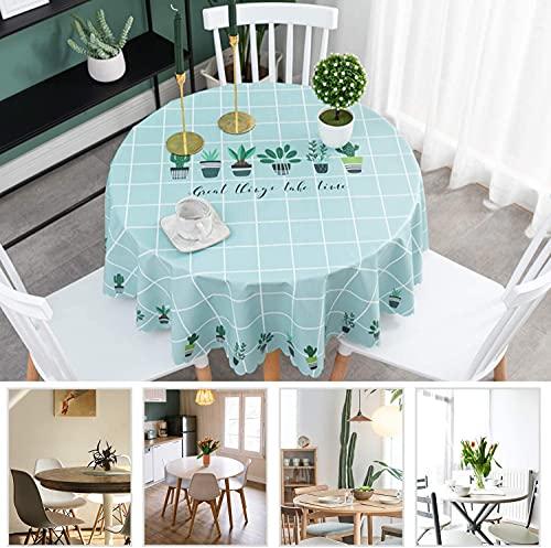 Asvert - Mantel redondo de 120 cm, impermeable, PVC, ecológico, mantel redondo, mantel de mesa antimanchas nórdico, lavable, decoración para cocina, restaurante, mesa de picnic, barbacoa, fiesta
