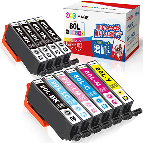 GPC Image IC6CL80L 互換インクカートリッジ 80 6色パック+ ICBK80L 黒4本 (計10本) 増量タイプ エプソン(Epson)用 IC80L とうもろこし インク EP-982A3 EP-707A EP-807AR EP-808AW EP-977A3 EP-979A3 対応の 80L 互換インク 残量表示機能 2年保証 個包装
